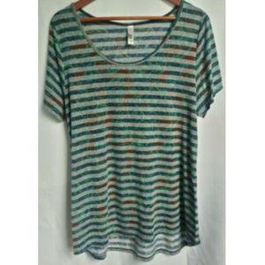 🌴3/$20 Lularoe Stripe Scoop Neck Short Sleeve Top